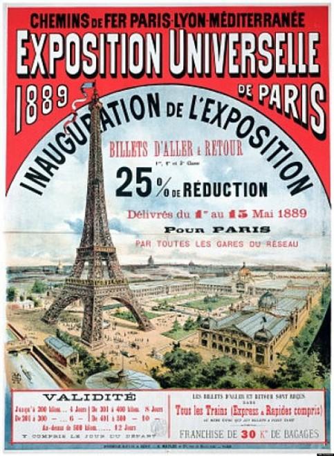 Affiche-voor-de-wereldtentoonstelling-in-1889-met-de-Eiffeltoren-Bron-onbekend